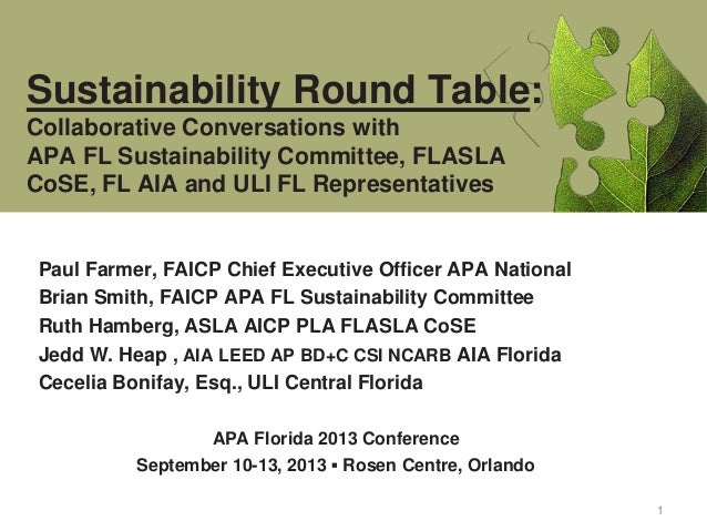 1 Paul Farmer, FAICP Chief Executive Officer APA National Brian Smith, FAICP APA FL Sustainability Committee Ruth Hamberg,...