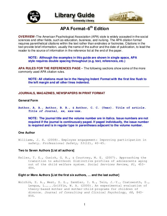 1 APA Format–6th Edition OVERVIEW–The American Psychological Association (APA) style is widely accepted in the social scie...