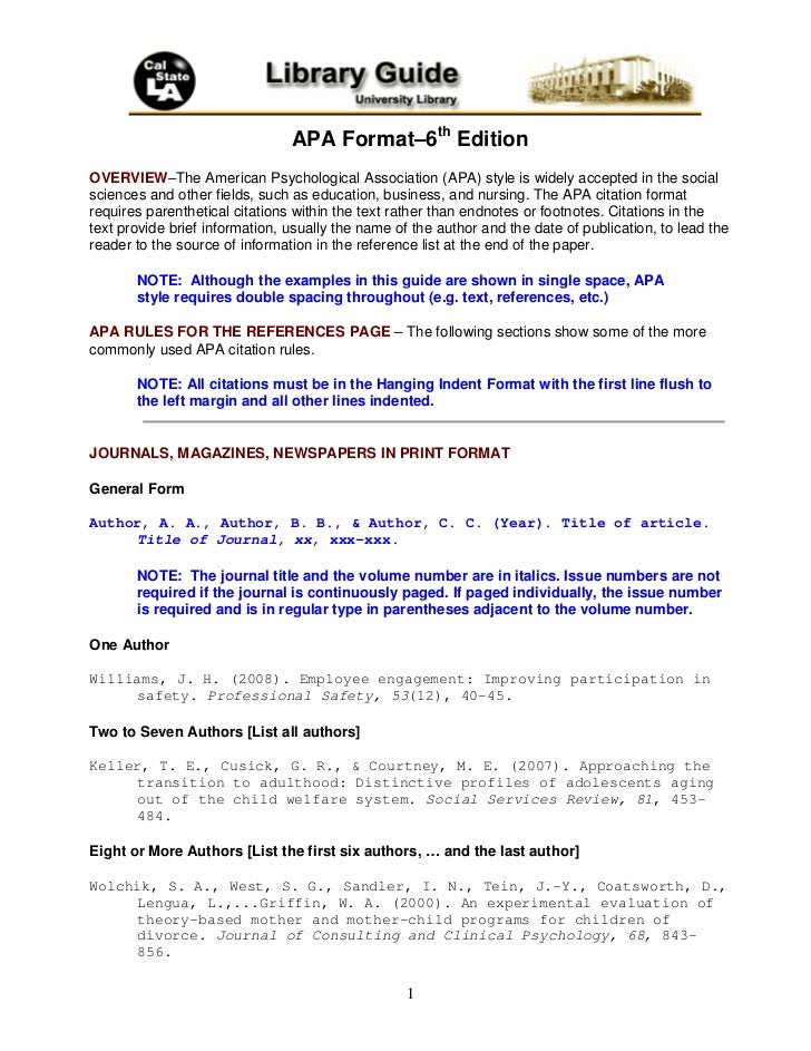 Apa format–6th edition