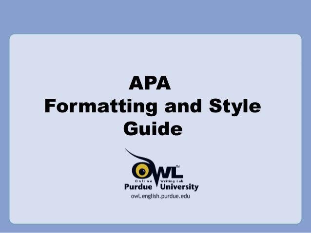Apa formatting