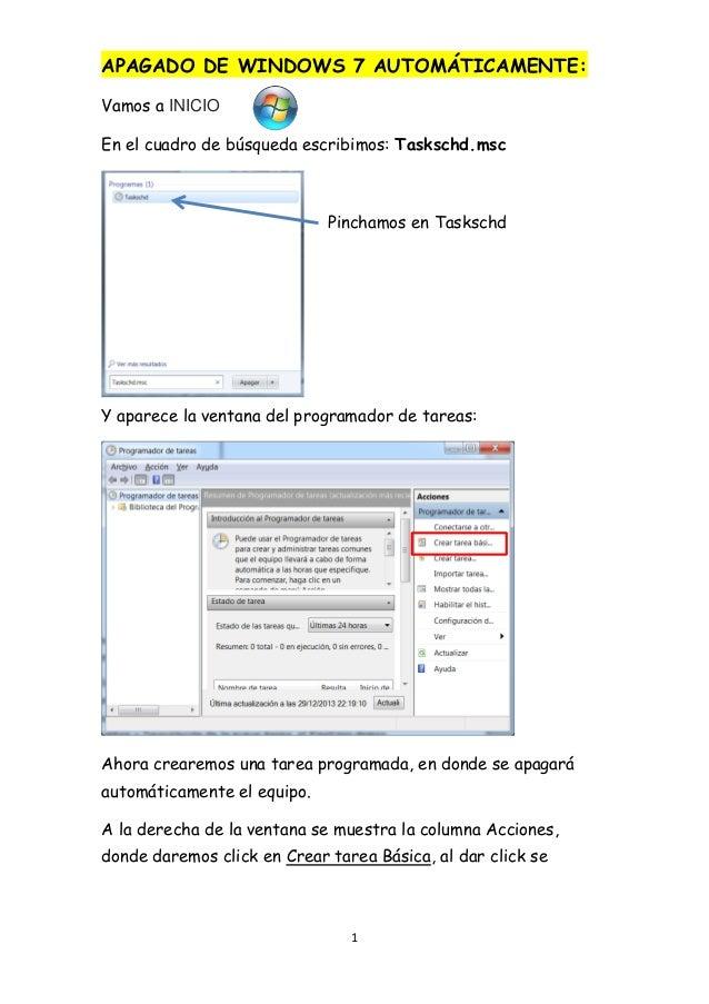 Apagado de windows 7 automáticamente