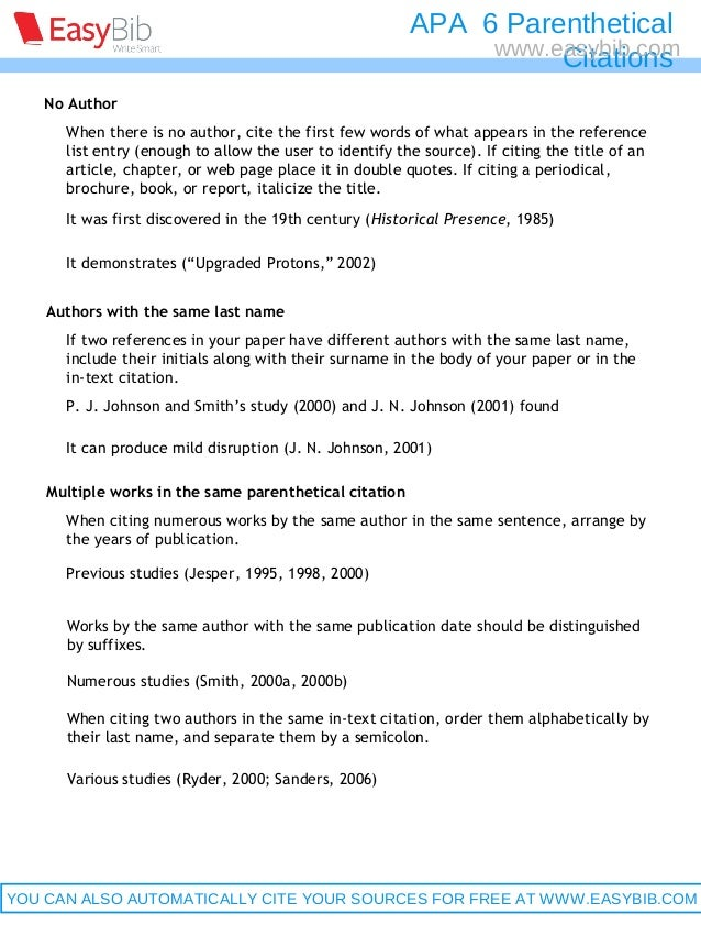 Parenthetical citation apa website