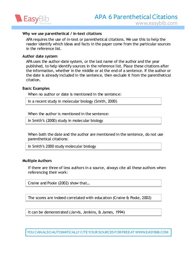 APA requires the use of in-text or parenthetical citations. We use this to help the reader identify which ideas and facts ...