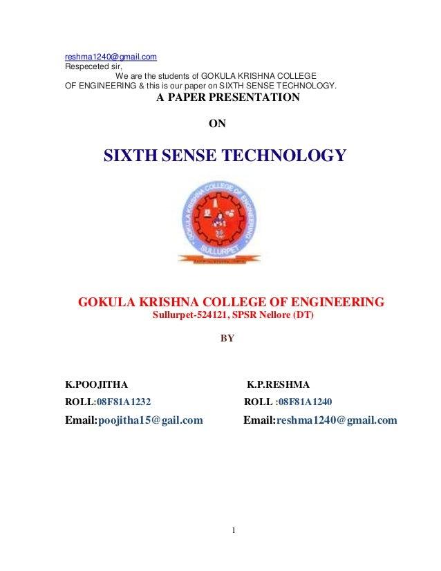 A paper presentation on sixth sense