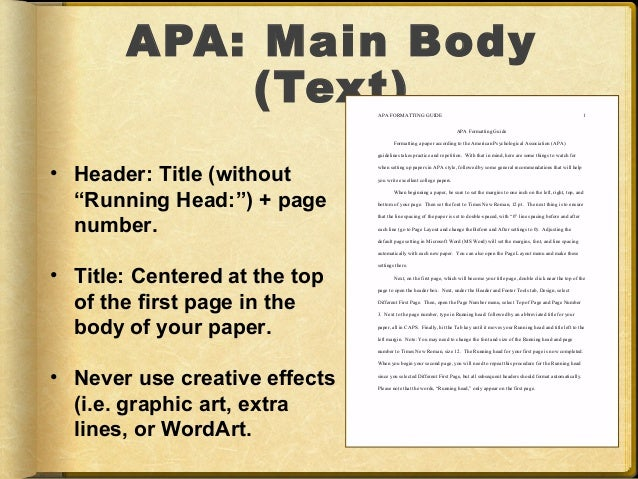 apa main body text apa formatting guide 1 apa formatting