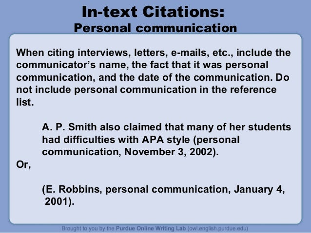 How do I cite letters (APA style) in a research paper?