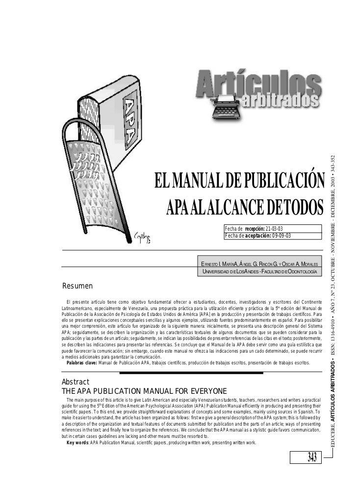 EDUCERE, ARTÍCULOS ARBITRADOS • ISSN: 1316-4910 • AÑO 7, Nº 23, OCTUBRE - NOVIEMBRE - DICIEMBRE, 2003 • 343-352           ...
