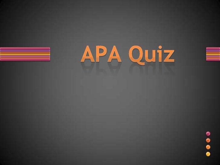 Apa Quiz