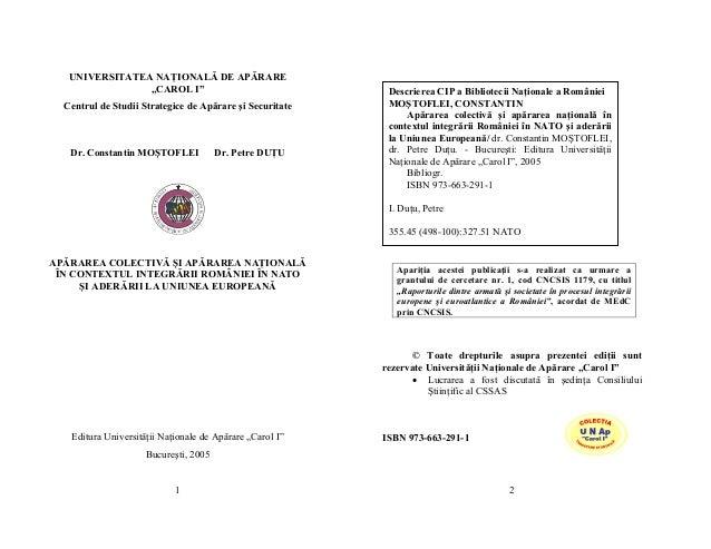 """UNIVERSITATEA NAŢIONALĂ DE APĂRARE                """"CAROL I""""                                                        Descrie..."""
