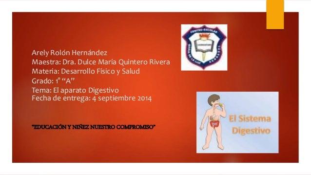 """Arely Rolón Hernández  Maestra: Dra. Dulce María Quintero Rivera  Materia: Desarrollo Físico y Salud  Grado: 1° """"A""""  Tema:..."""