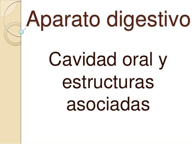 Aparato digestivo  Cavidad oral y   estructuras   asociadas
