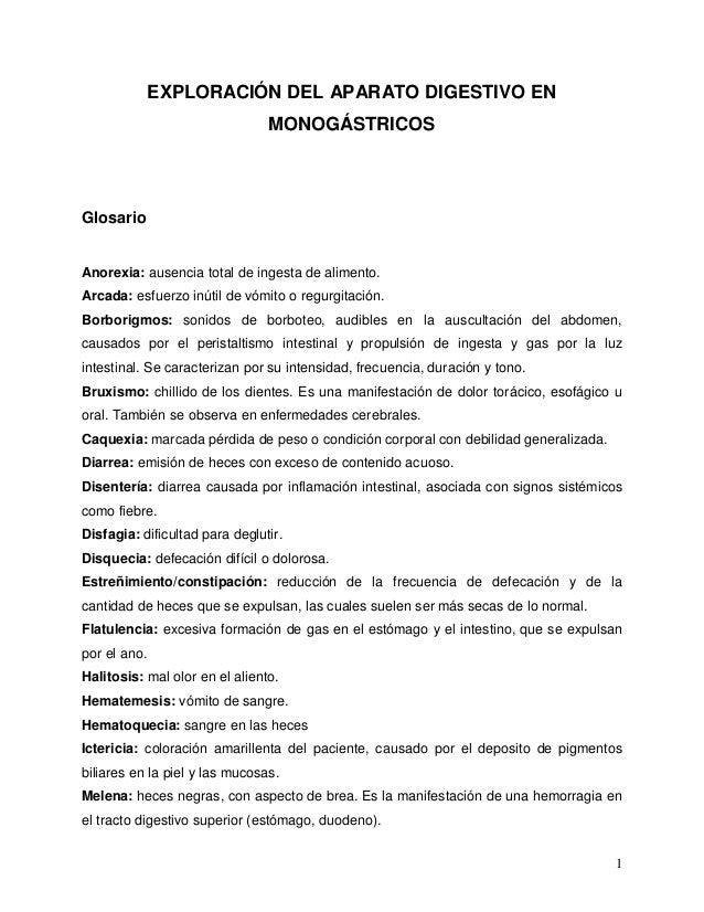 1  EXPLORACIÓN DEL APARATO DIGESTIVO EN  MONOGÁSTRICOS  Glosario  Anorexia: ausencia total de ingesta de alimento.  Arcada...