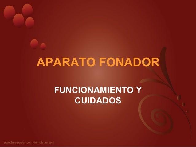 APARATO FONADOR  FUNCIONAMIENTO Y     CUIDADOS