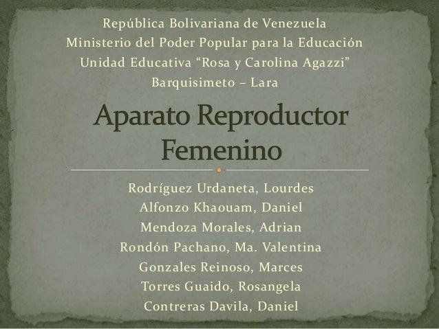 """República Bolivariana de Venezuela  Ministerio del Poder Popular para la Educación  Unidad Educativa """"Rosa y Carolina Agaz..."""