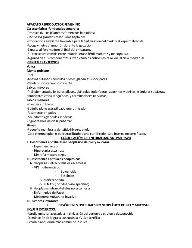 Aparato reproductor femenino patologia