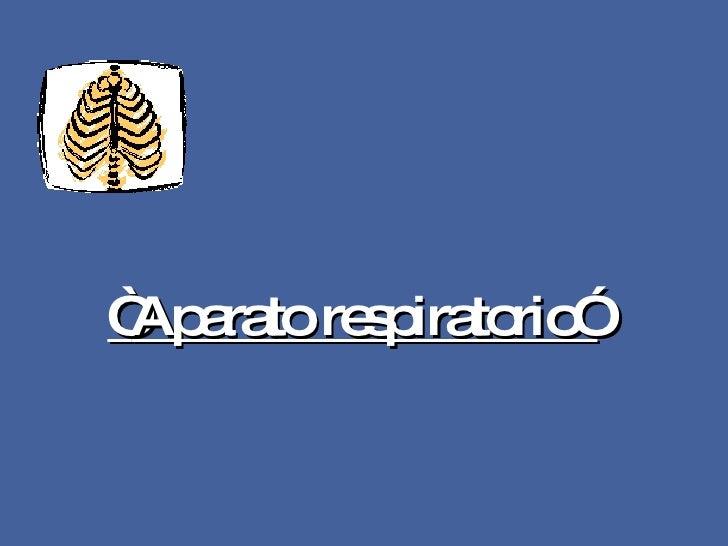""""""" Aparato respiratorio"""""""