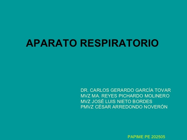 APARATO RESPIRATORIO DR. CARLOS GERARDO GARCÍA TOVAR MVZ MA. REYES PICHARDO MOLINERO MVZ JOSÉ LUIS NIETO BORDES PMVZ CÉSAR...
