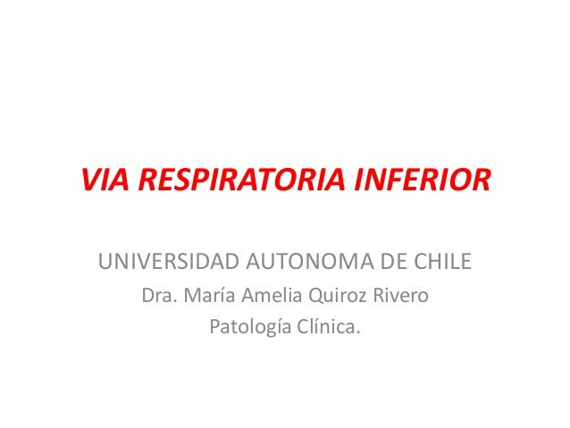 VIA RESPIRATORIA INFERIOR UNIVERSIDAD AUTONOMA DE CHILE Dra. María Amelia Quiroz Rivero Patología Clínica.
