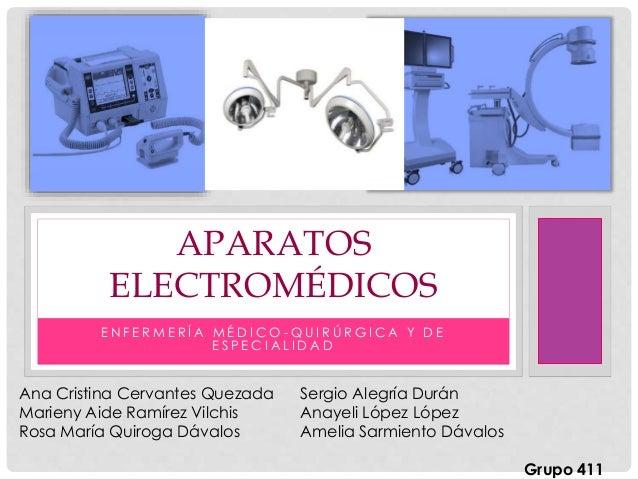 E N F E R M E R Í A M É D I C O - Q U I R Ú R G I C A Y D E E S P E C I A L I D A D APARATOS ELECTROMÉDICOS Ana Cristina C...