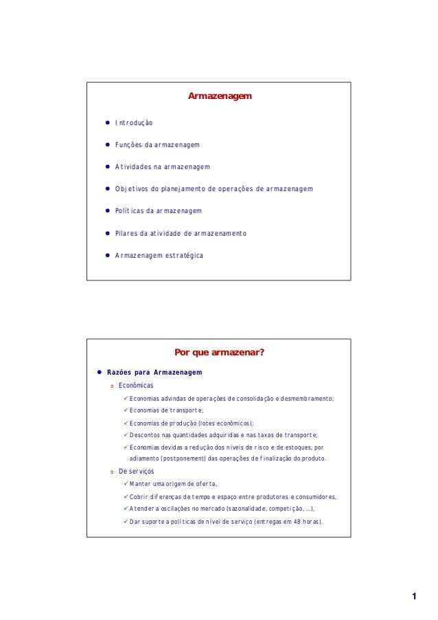 11 Armazenagem l Introdução l Funções da armazenagem l Atividades na armazenagem l Objetivos do planejamento de operações ...
