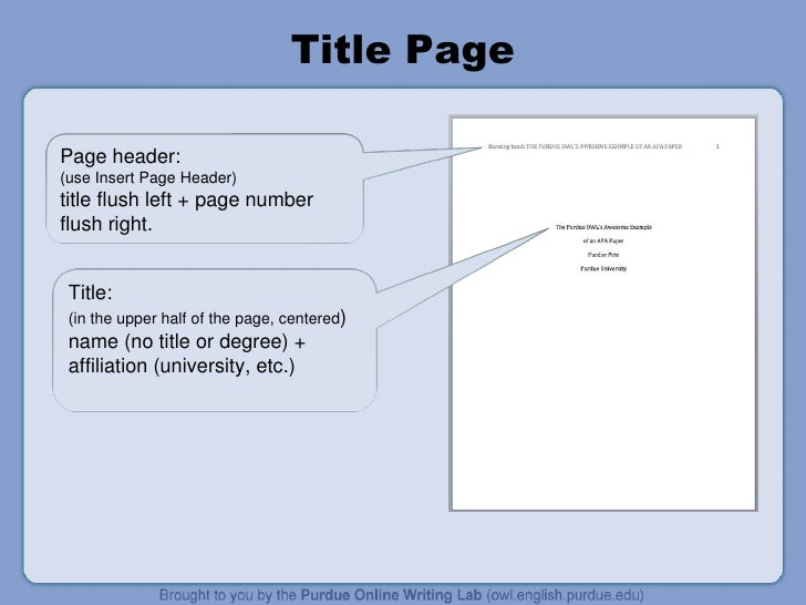 Apa Essay Title Page
