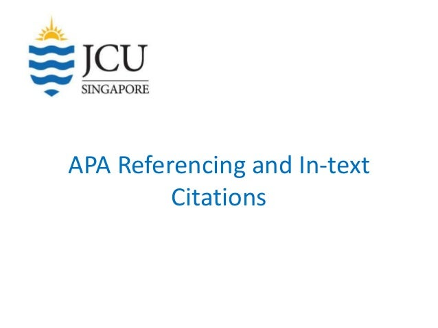 APA Referencing and In-text Citations