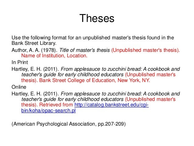 referencing phd thesis apa Phd and master's theses page in the library site (doctoral dissertation/master's formatting the reference list apa requires that the reference list be.