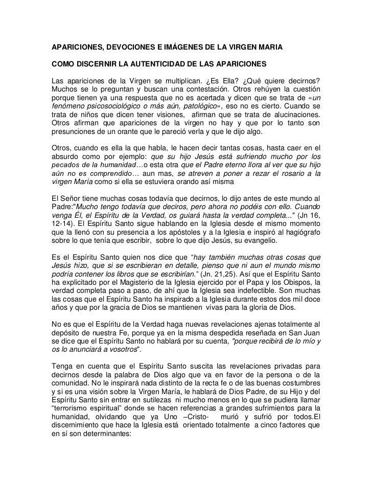 APARICIONES, DEVOCIONES E IMÁGENES DE LA VIRGEN MARIACOMO DISCERNIR LA AUTENTICIDAD DE LAS APARICIONESLas apariciones de l...