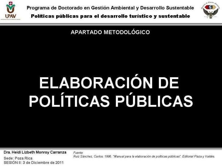 Apartado metodológico: Elaboración de Políticas Públicas