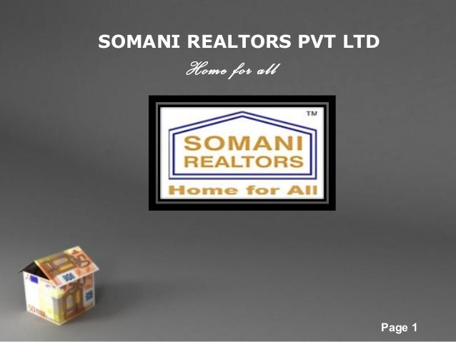 SOMANI REALTORS PVT LTD  Home for all  Powerpoint Templates  Page 1