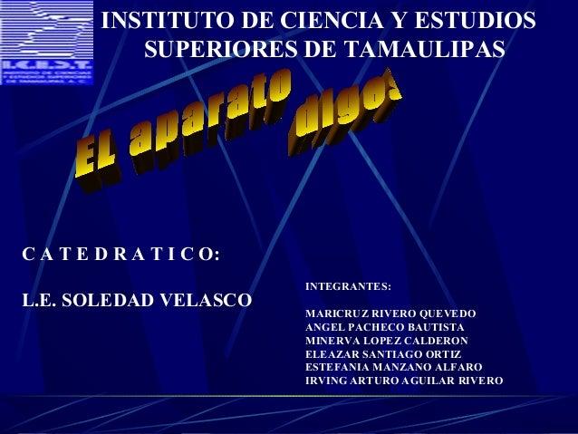 INSTITUTO DE CIENCIA Y ESTUDIOS SUPERIORES DE TAMAULIPAS  C A T E D R A T I C O: L.E. SOLEDAD VELASCO  INTEGRANTES: MARICR...