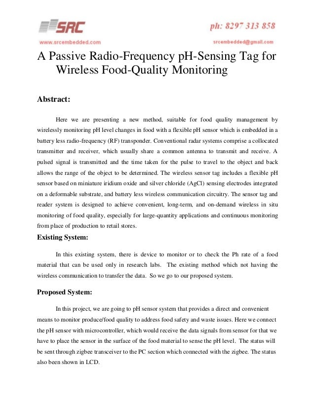 A passive radio frequency p h-sensing tag for wireless food-quality monitoring