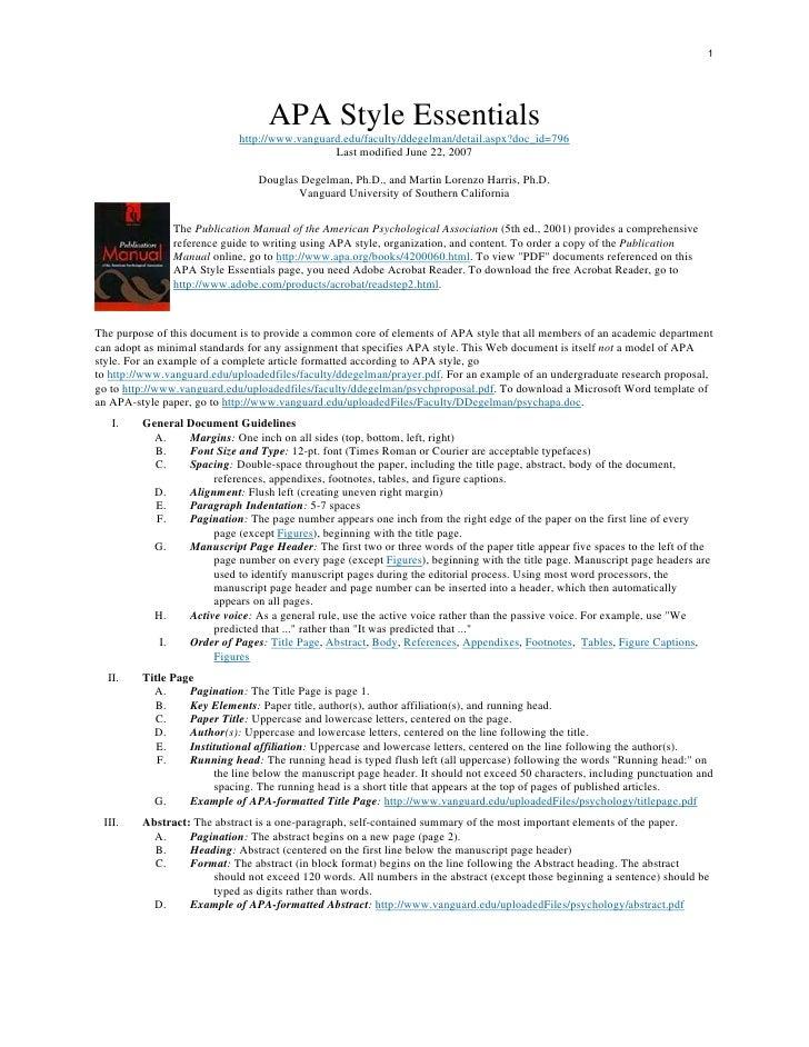 1                                        APA Style Essentials                             http://www.vanguard.edu/faculty/...