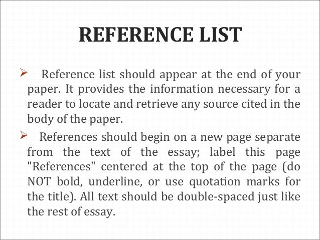 list of references at end of essay Welcome to the purdue owl purdue owl writing it is important to have a reference sheet because potential employers will often ask for a list of references they.