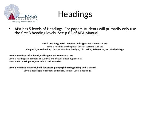 page numbers apa dissertation headings