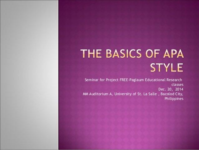 Apa style project