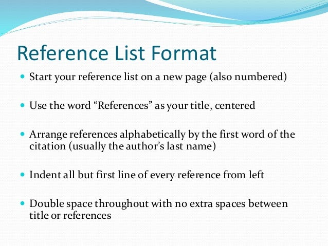 Doc650810 Format for List of References References Sample How – Format for List of References
