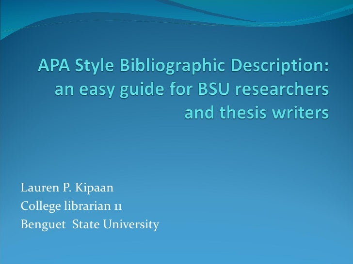Apa Style Bibliographic Description