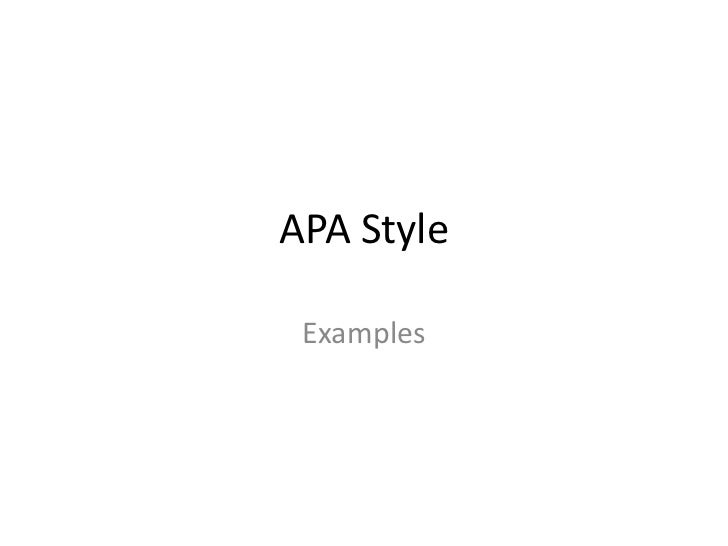 Apa style examples
