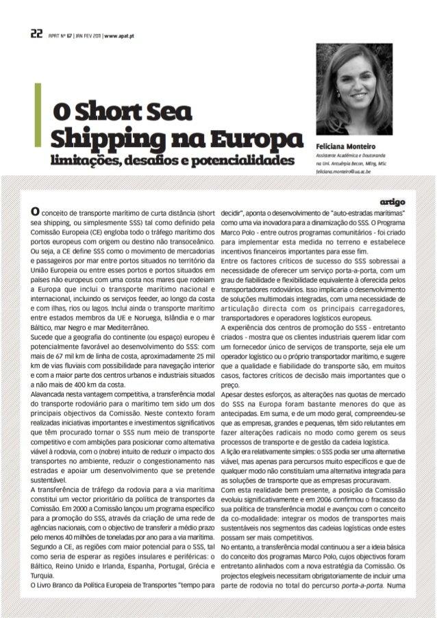 O Short Sea Shipping na Europa: limitações, desafios e potencialidades