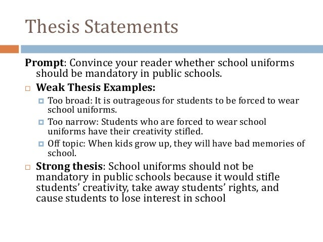 Example thesis statements for middle school