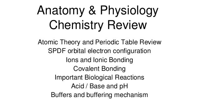 Anatomy & Physiology Chemistry Review Atomic Theory and Periodic Table Review SPDF orbital electron configuration Ions and...