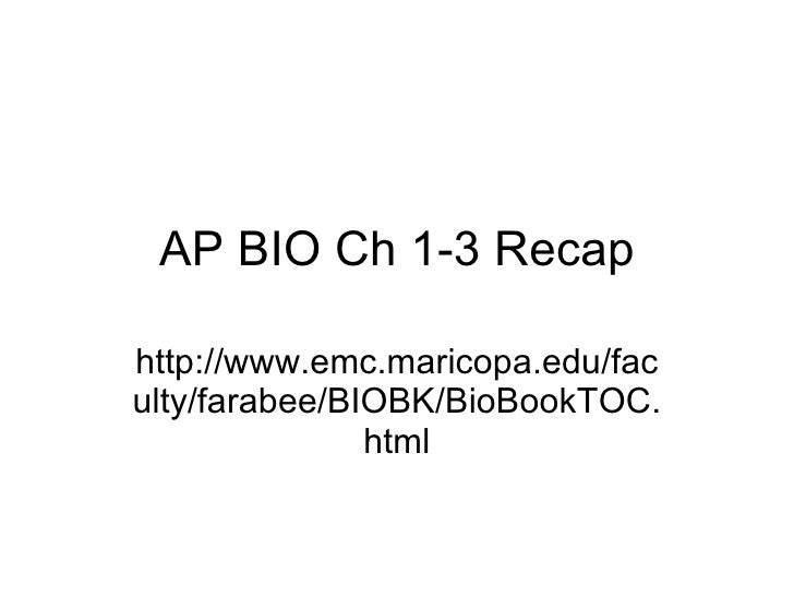 Ap Bio Ch 1 3 Recap