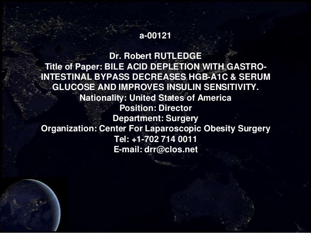 a-00121                  Dr. Robert RUTLEDGE Title of Paper: BILE ACID DEPLETION WITH GASTRO-INTESTINAL BYPASS DECREASES H...