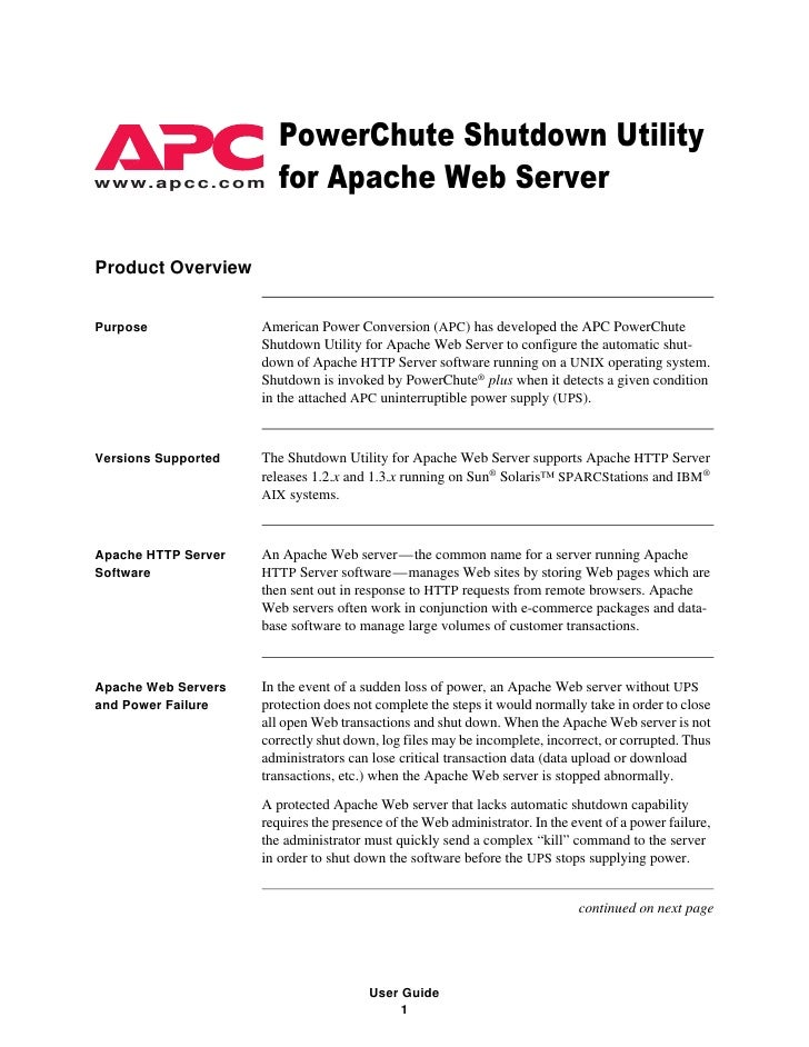 APC PowerChute Shutdown Utility for Apache Web Server -- User ...