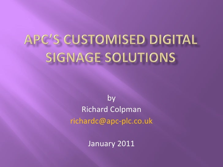 by    Richard Colpmanrichardc@apc-plc.co.uk    January 2011