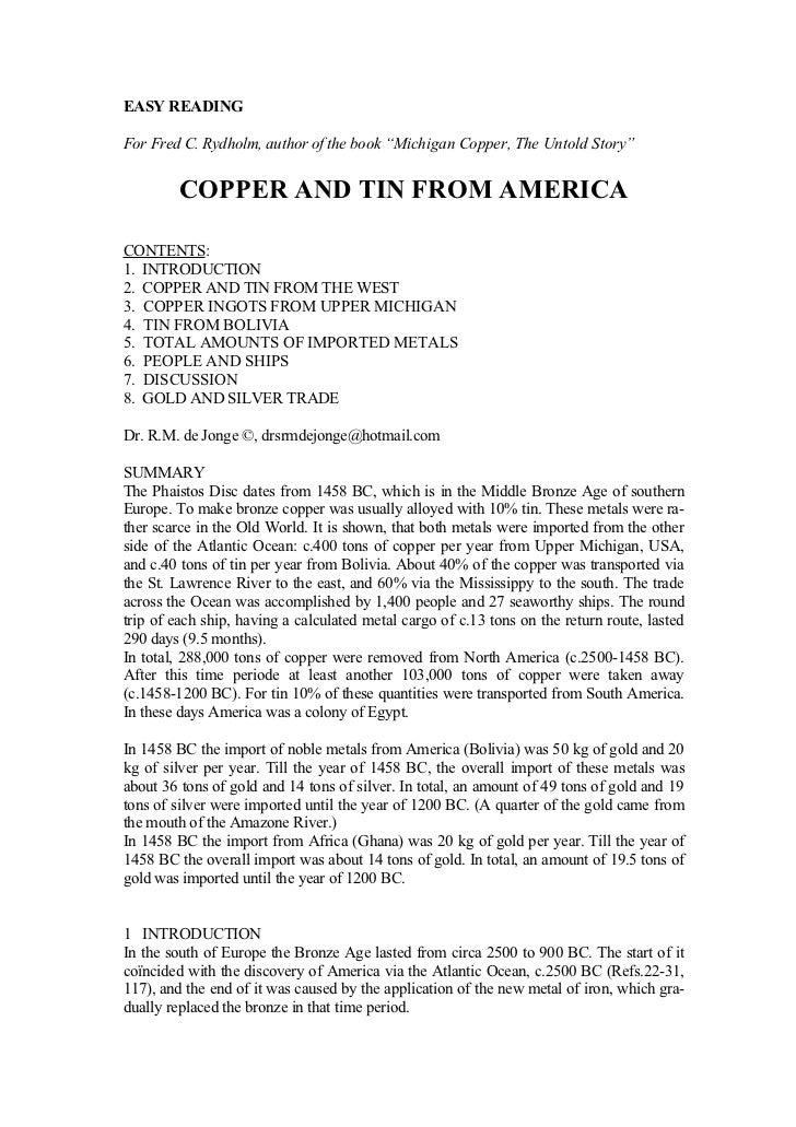 COPPER FROM AMERICA