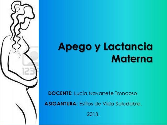 Apego y Lactancia Materna DOCENTE: Lucía Navarrete Troncoso. ASIGANTURA: Estilos de Vida Saludable. 2013.