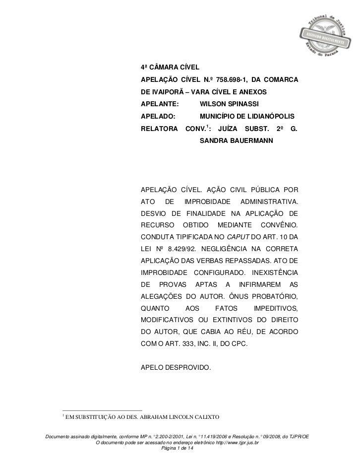 4ª CÂMARA CÍVEL                                          APELAÇÃO CÍVEL N.º 758.698-1, DA COMARCA                         ...
