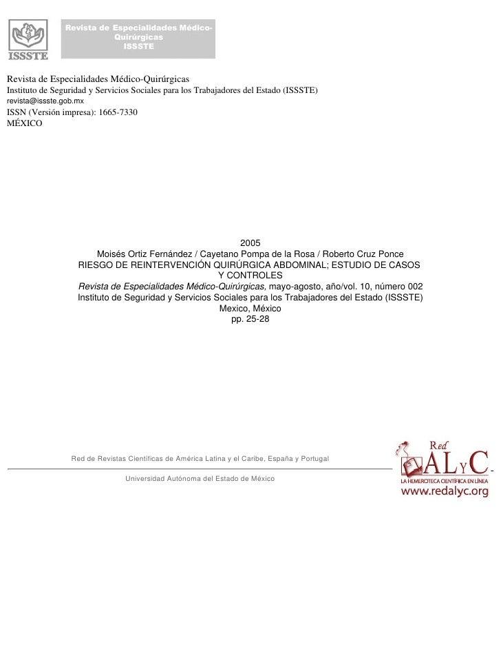 Revista de Especialidades Médico-QuirúrgicasInstituto de Seguridad y Servicios Sociales para los Trabajadores del Estado (...